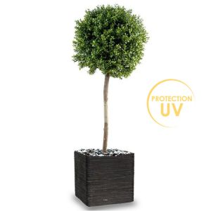 Buis boule factice H 140 cm D 50 cm Anti UV 2000H tronc naturel In Out dans un pot