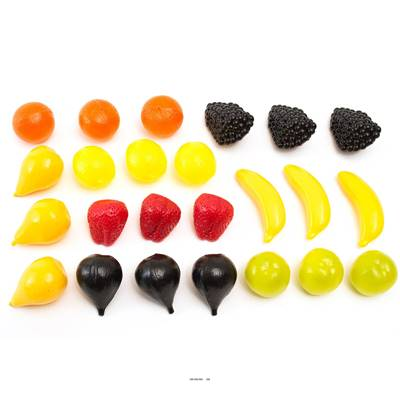 Lot de 24 petits fruits assortis factices plastique soufflé